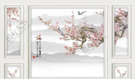 3D边框造型梅花喜鹊山水背景墙图片