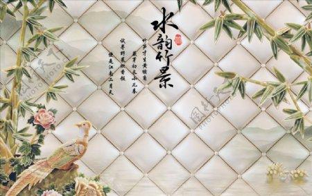 浮雕花竹子背景墙图片
