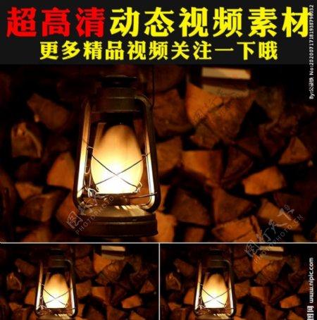 火星燃烧煤油灯古老挂灯视频