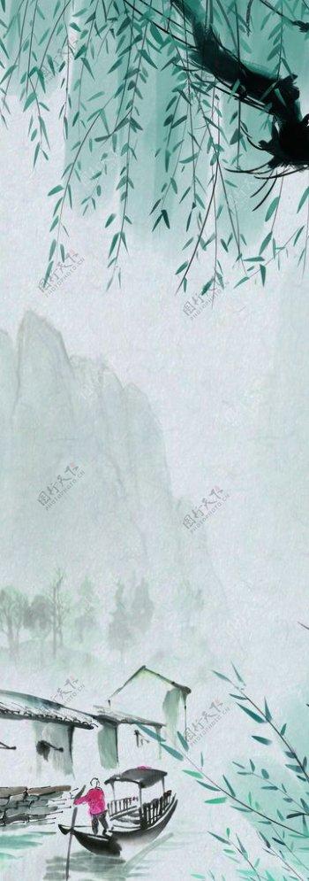 柳树水墨画图片