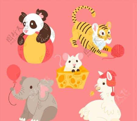 彩色可爱动物图片