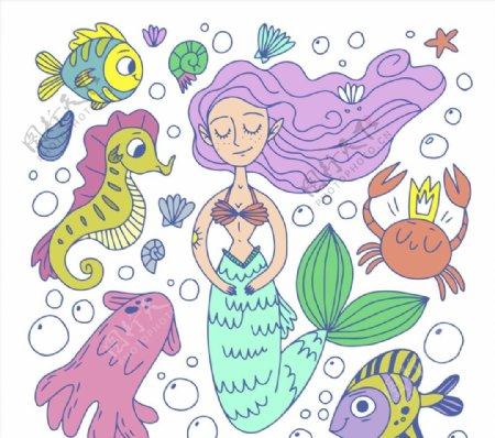 美人鱼和海洋动物图片