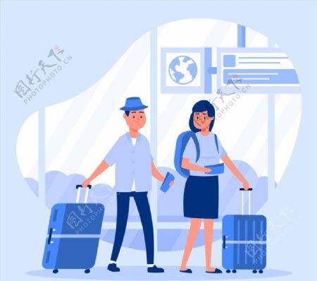 机场行李箱男女图片