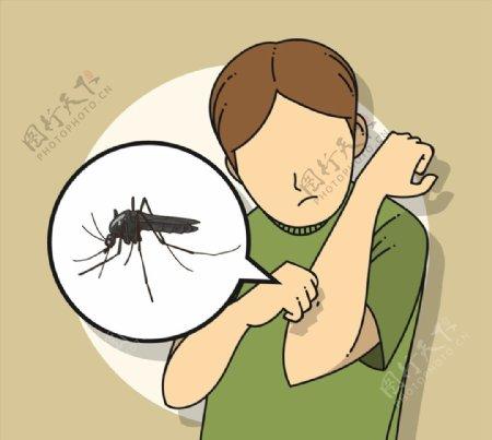 被蚊子咬的男子图片