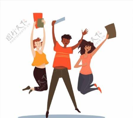 跳跃欢呼的学生图片
