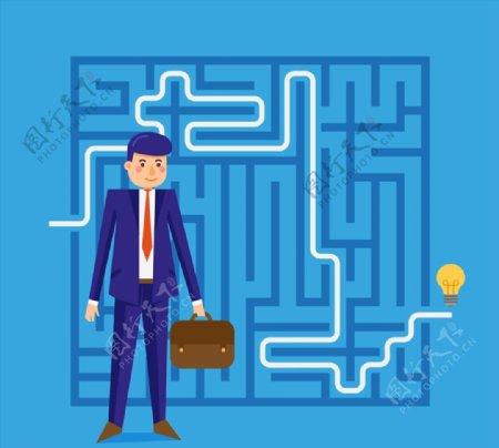 商务男子和迷宫图片