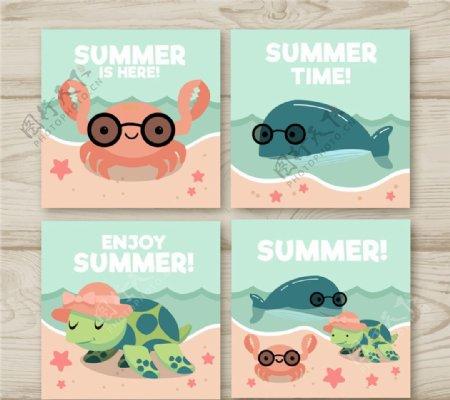 可爱海洋动物卡片图片