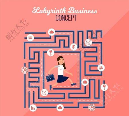 迷宫中的商务女子图片