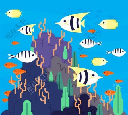 创意海底多样鱼类图片