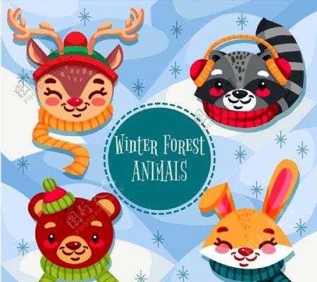 微笑冬季动物头像图片