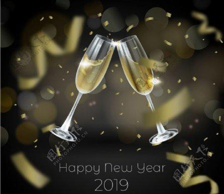 新年碰杯香槟酒杯图片