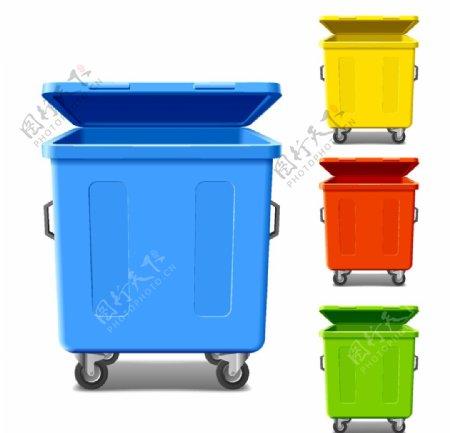 彩色滚轮垃圾桶图片