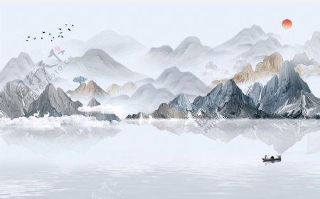 新中式山水背景墙壁纸图片