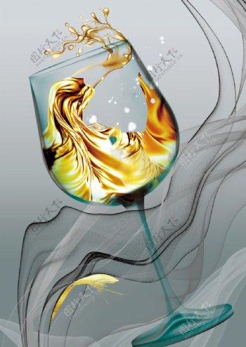 创意轻奢酒杯抽象艺术装饰画图片
