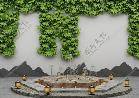 新中式庭院喷泉3D模型图片