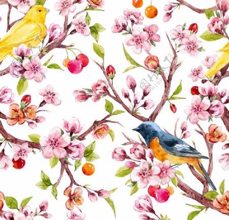 桃树花鸟儿图片