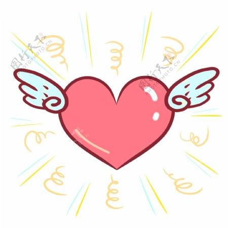 手账手绘可爱感恩节爱心翅膀装饰图片