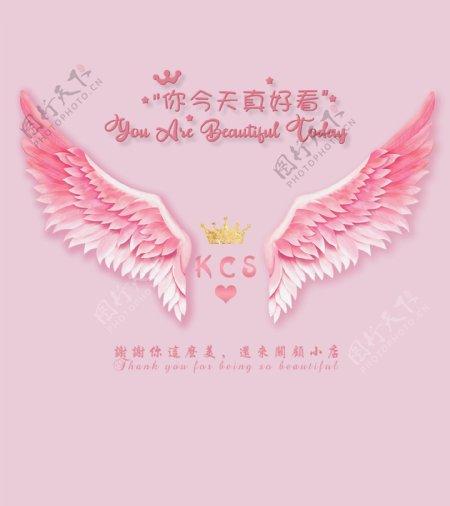 你今天真好看粉色翅膀图片