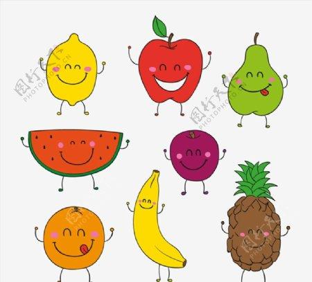 卡通笑脸水果图片