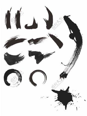 毛笔创意字体笔刷AI矢图图片