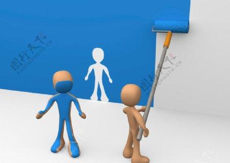 3D刷墙小人图片