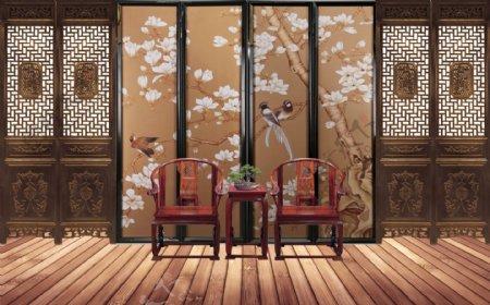 中国风背景墙屏风图片