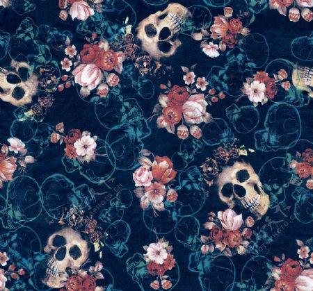 花卉与骷髅抽象印花图案图片