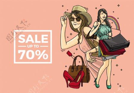 女人购物插画图片