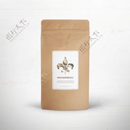 咖啡牛皮纸自封包装样机图片