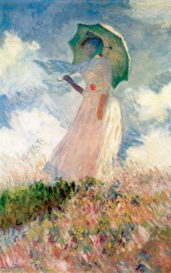 莫奈撑伞的女人图片