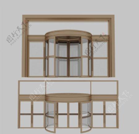 金属旋转门玻璃门3d模型图片