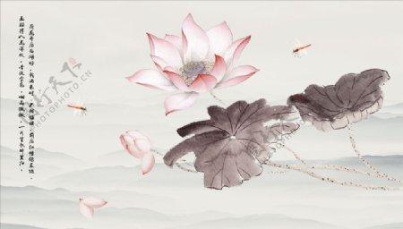 水墨山水蜻蜓花瓣背景墙图片