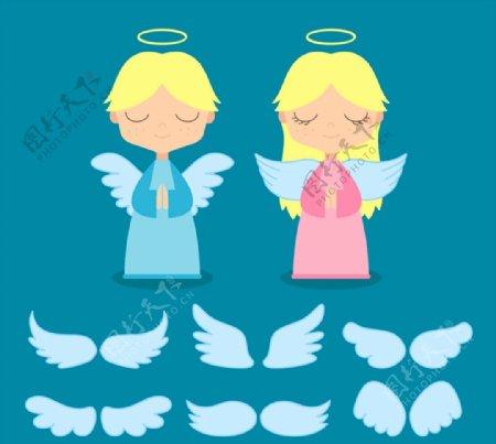 天使和翅膀矢量图片