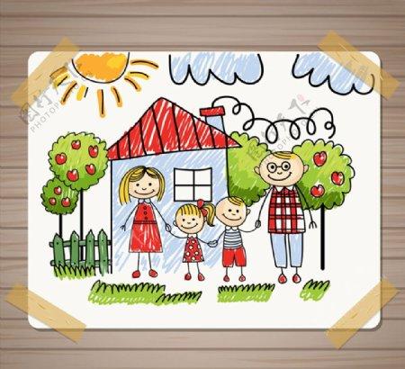 家庭儿童插画图片