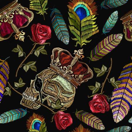骷髅绣花图片