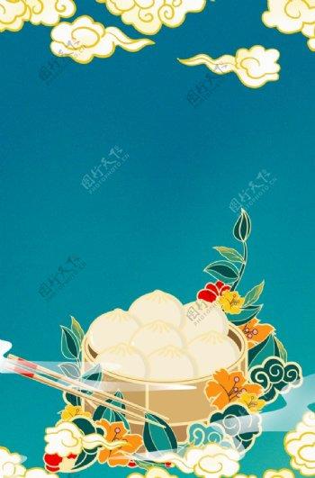 创意国潮风美食高清背景图片