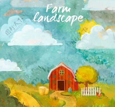 农场小屋风景图片