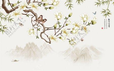 花鸟水墨山水背景墙图片