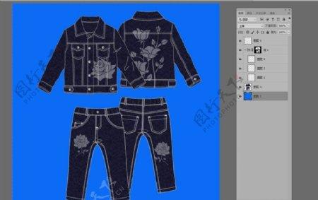 抽象花卉牛仔服装印花图案设计图片