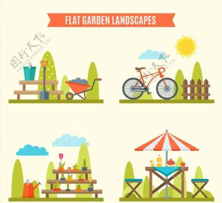 花园风景矢量图片