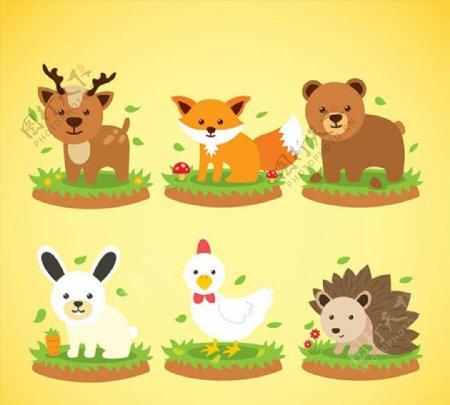 可爱动物矢量图片