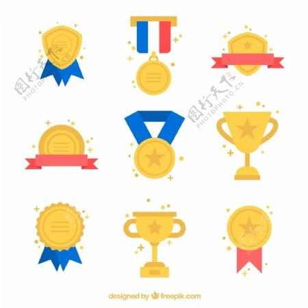 奖牌徽章和奖杯图片