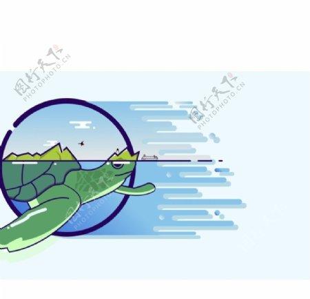 AI乌龟山水图图片