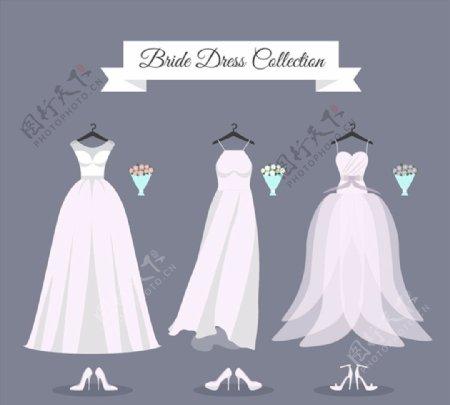 婚纱和高跟鞋图片