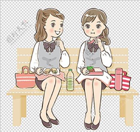 一起吃便当女生矢量手绘图片