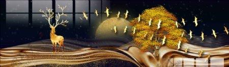 麋鹿发财树装饰画图片