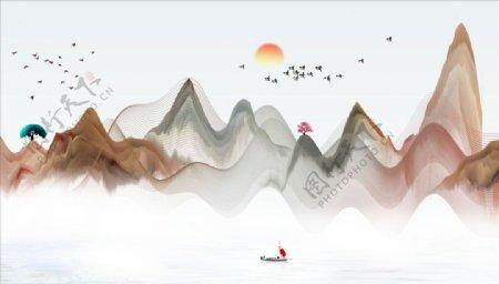 树飘带小船太阳背景墙图片