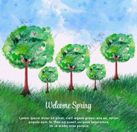 水彩绘春天插画矢量素材图片