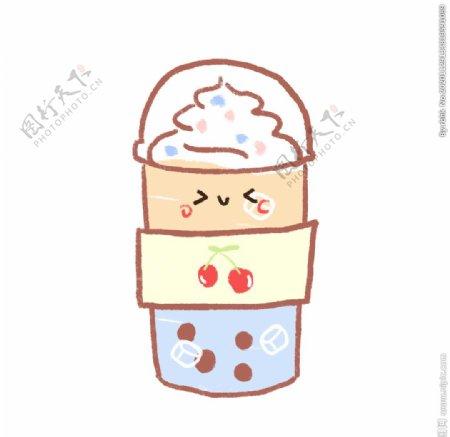 卡通奶茶冰淇淋图片