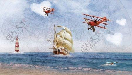 大海灯塔飞行器帆船背景墙图片